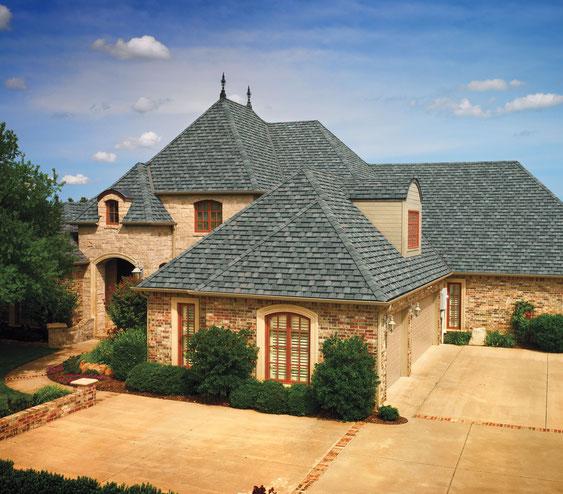 dachy pokryte gontem GAF model Camelot w kolorze Williamsburg Slate