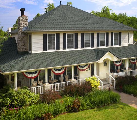 Dom pokryty gontem, gont, gonty, GAF, Timberline HD w kolorze Hunter Green
