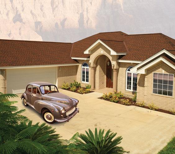 Dom pokryty gontem, gont, gonty, GAF Timberline HD w kolorze Hickory