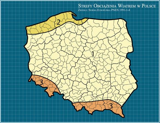 Polska - Strefy obciążenia wiatrem