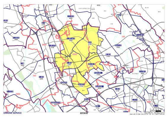 埼玉県さいたま市浦和区の読売新聞配布地図