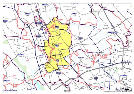 埼玉県さいたま市浦和区の朝日新聞配布地図