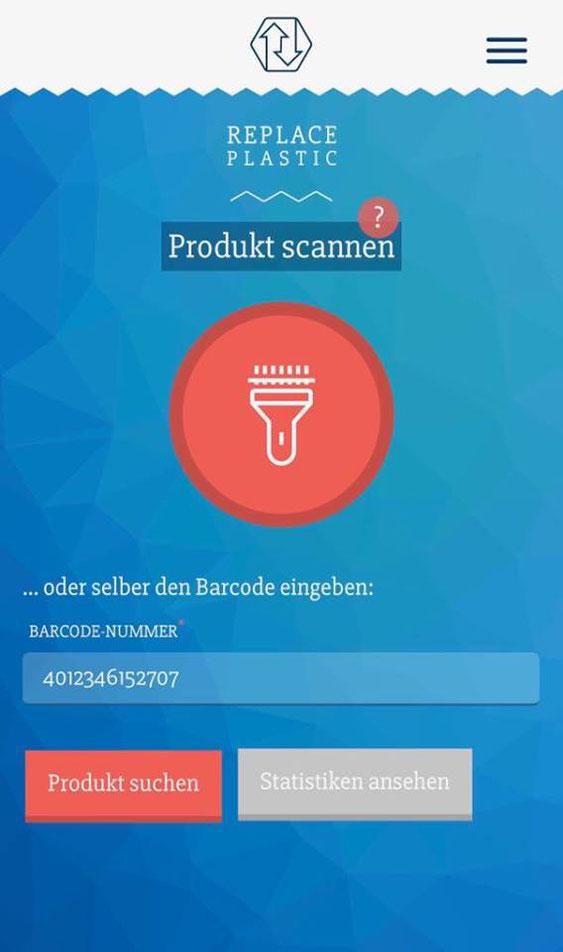 Screenshot: Replace Plastic App (kostenlos verfügbar)