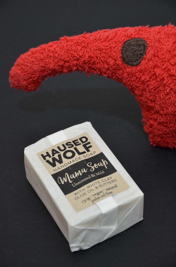 Mamaseife von Haused Wolf - ohne zugesetzte Parfüm- und Geruchsstoffe.