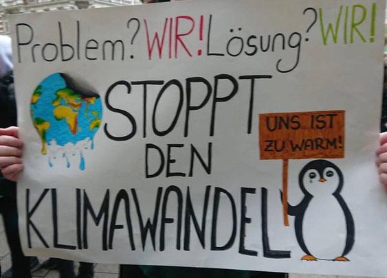 Wichtige Message: Stoppt den Klimawandel! - Zu lesen auf einem der zahlreichen Plakate der Fridays For Future Demonstrationen. Dieses wurde in Hamburg aufgenommen. - Die Schüler*innen-Märsche finden weltweit jeden Freitag statt.