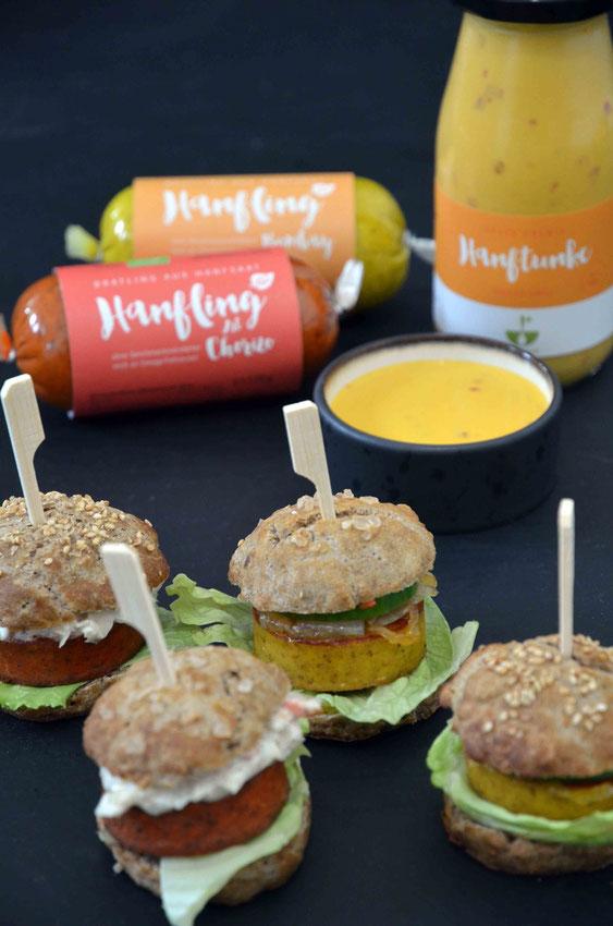Miniburger mit Hanfwerk Hanflingen und Hanftunke
