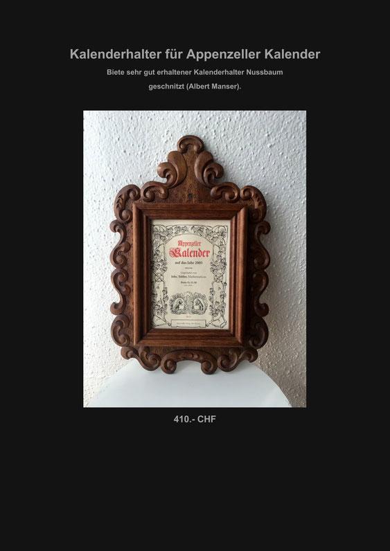 Kalenderhalter, Appenzeller Kalender, Marcel Schiegg, Nussbaum, Schnitzerei, geschnitzt, Verkaufe
