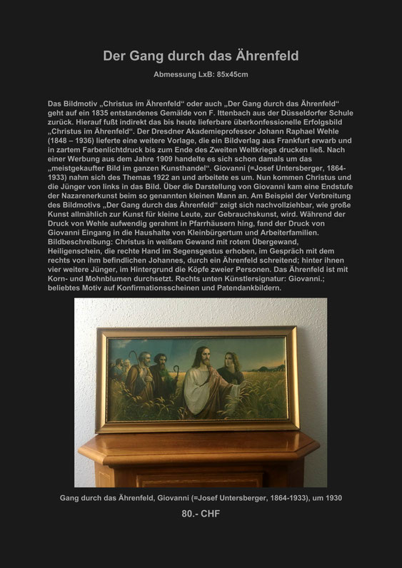 Kunst, Kunstdruck, Marcel Schiegg, Ährenfeld, Christus, Giovanni, Josef Untersberger, Ittenbach, Jünger, Johannes, Verkaufe, Appenzell