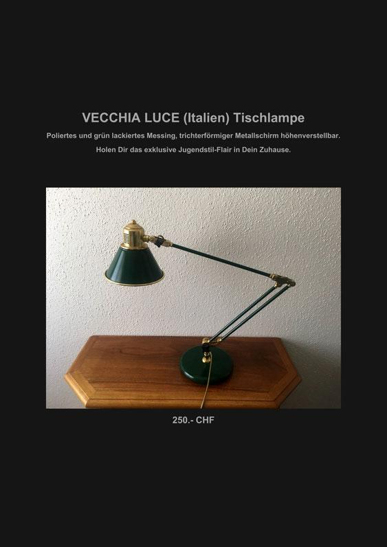 Jugendstil, Tischlampe, Tischleuchte, Antik, Marcel Schiegg, Verkaufe, Vecchia Luce, Italien, rar, Sammlerstück