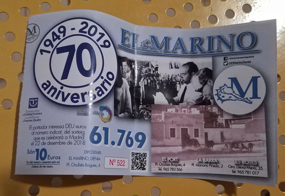El 61.769 vuelve a acompañar a los clientes y amigos del Marino Dénia en el sorteo de Navidad