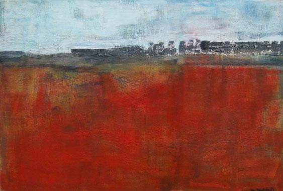 Rotes Land       Eitempera auf Leinwand      60 x 80 cm