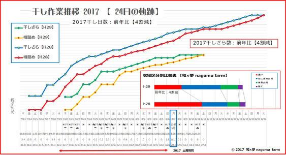 干し作業推移【2017】グラフ 和×夢 nagomu farm