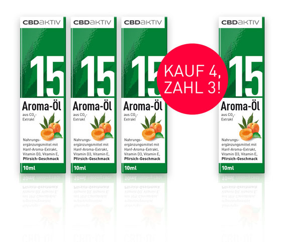 CBD-Öl 15 % mit Pfirsichgeschmack kaufe 4 zahle 3