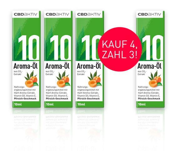 CBD-Öl 10 % mit Pfirsichgeschmack kaufe 4 zahle 3