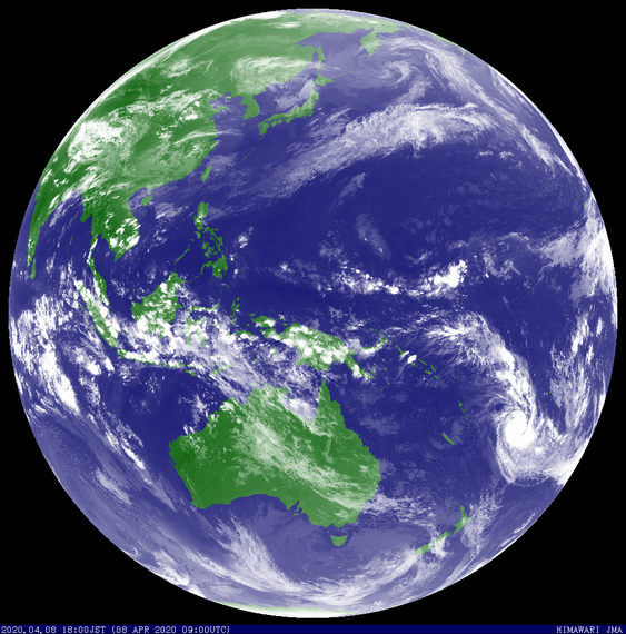 Satellite image showing Severe Tropical Cyclone Harold over Fiji, 08/04/2020. Image from JMA.