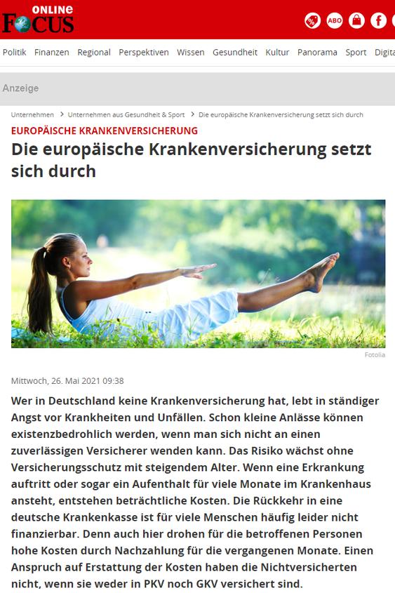 Screenshot Focus Online Artikel