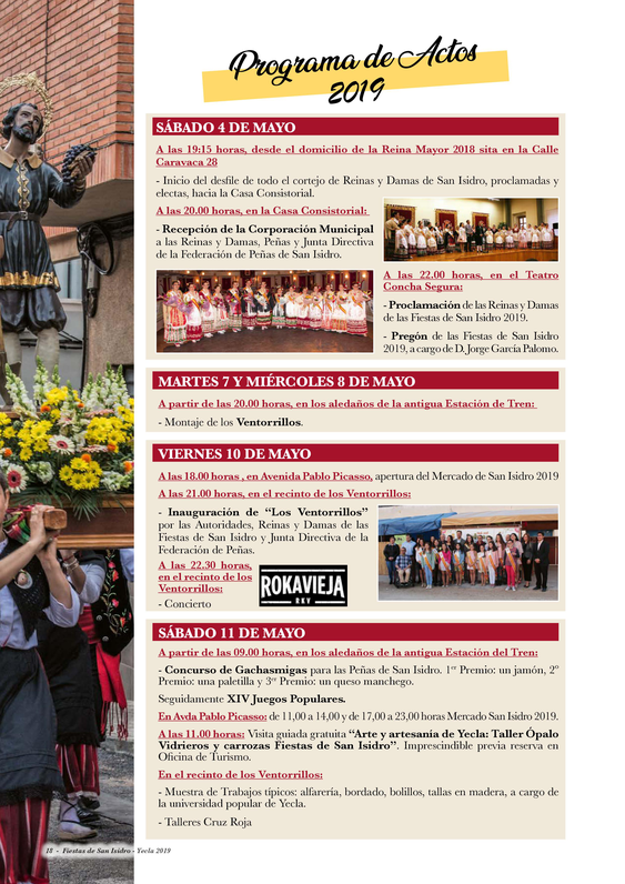 Programa de las Fiestas de San Isidro en Yecla
