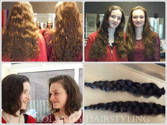 De zusjes Lisette en Yvonne doneren hun haren voor Stichting Haarwensen.