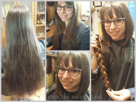 Jetske heeft speciaal voor stichting Haarwensen het haar zo lang laten groeien, zodat ze nu een flinke vlecht kan doneren. Respect Jetske!