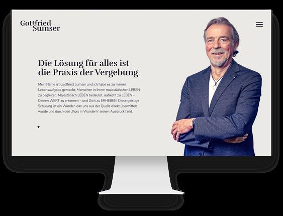 Webdesign Agentur: WordPress Webseitefür Gottfried Sumser – Ein Kurs in Wundern Lehrer