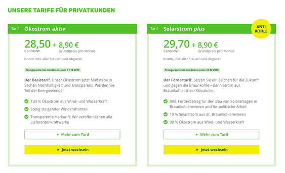 Screenshot: Die Greenpeace Energy Stromtarife im Überblick; Quelle: https://www.greenpeace-energy.de/privatkunden/oekostrom.html