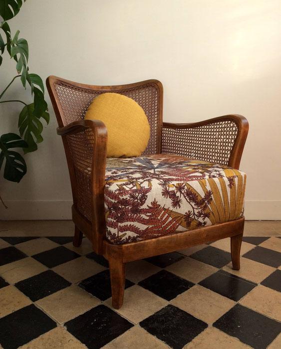fauteuil art déco, fauteuil vintage, fauteuil canné, Thévenon