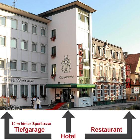 Eingang Hotel Danner und Chinarestaurant Fudu in Rheinfelden Baden, Deutschland
