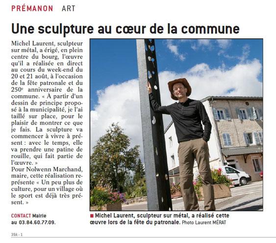 Installation d'une sculpture métallique sur le domaine public à Prémanon (Jura) © Michel LAURENT (MichL)