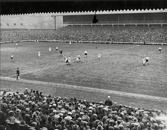 Ewood Park: Rovers v Birmigham City, 1935. Photo taken from The Nuttall Street Stand looking towards The Riverside with the roofless Blackburn End to the left.