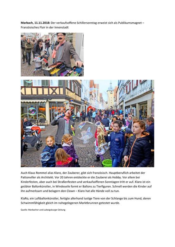 KlaRo als Luftballon- und Seifenblasenkünstler in Marbach am Neckar.