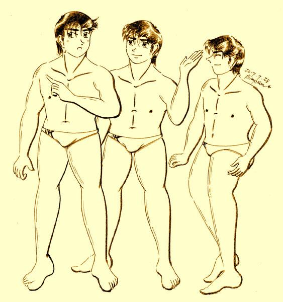 スイミングスクールのケンジ、健太郎、龍