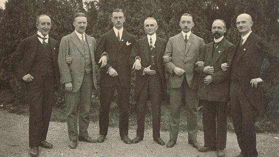 v.l. Hermann Bassé, Passauer, Jean Röseler, Otto Lange, Müller, Frederik Viktor Berk, Miebach