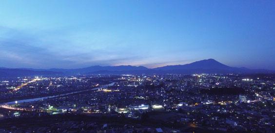 ドローン撮影盛岡岩手山夕景