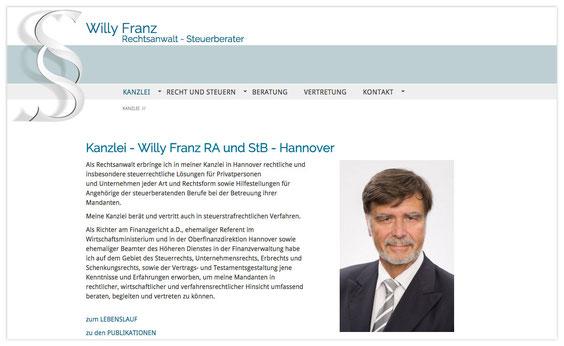 Website von Willy Franz, StB und RA; WebDesign: Artwork3, Heidemarie Franz
