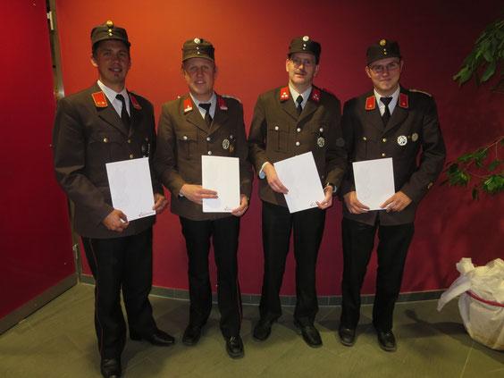 Kdt. HBI Andreas Paluc, BM Leonhard Brunner, HV Alois Bellinger, Kdt.-Stellvertr. OBI Anton Schlechter