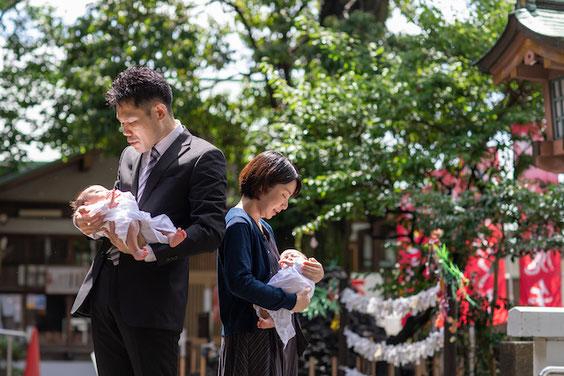 北澤八幡神社 お宮参り 双子 出張撮影 カメラマン 料金 安い