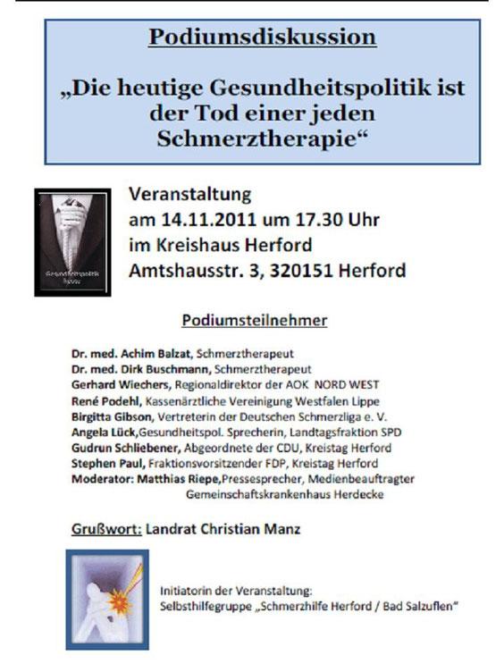 Podiumsdiskussion 14.11.2011 - schmerzhilfeherford. jimdo page!