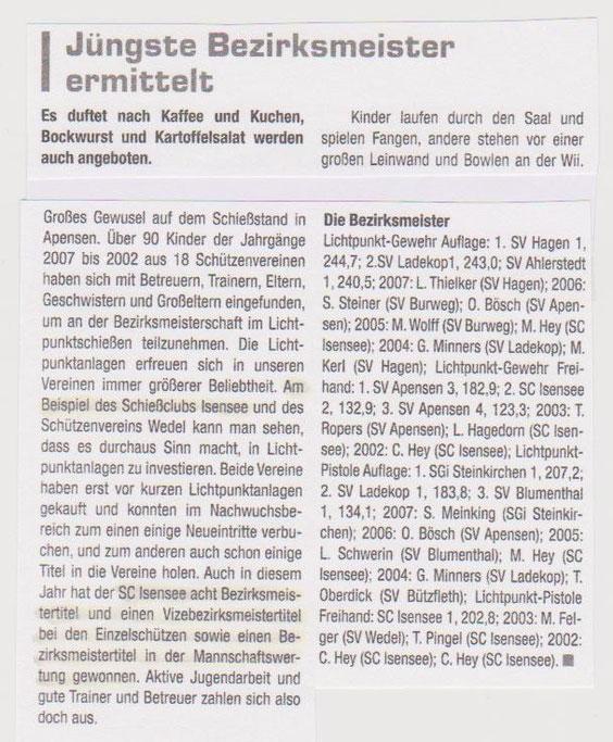"""Bericht über die Bezirksmeisterschaft am 11.05.2014 in Apensen in der Zeitschrift: """"Der Norddeutsche Schütze"""" Heft 7/14"""