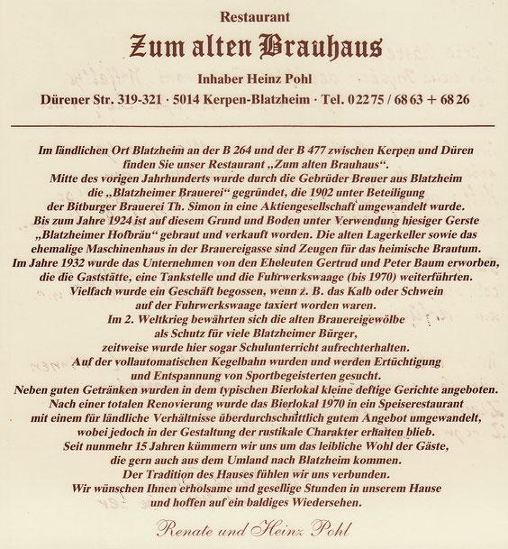 ein Stück Geschichte, das alte Brauhaus in Kerpen-Blatzheim