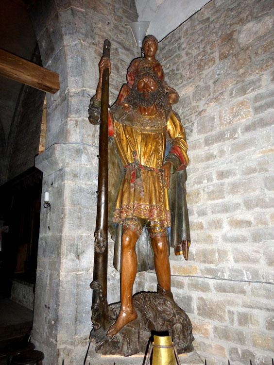 La statue en bois de st Christophe