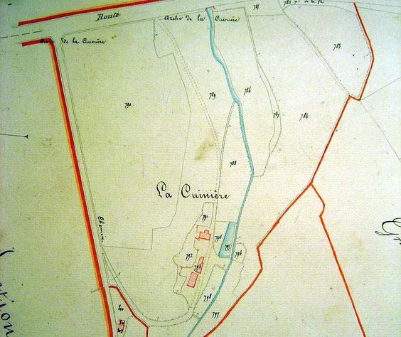 """La Cuinière en 1834, il est à noter que le lieu-dit """"La Malle Poste"""" n'existe pas à cette date."""