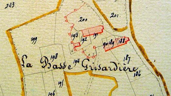 Sur le cadastre de 1834, nous distinguons 3 bâtiments et de nombreuses caves.