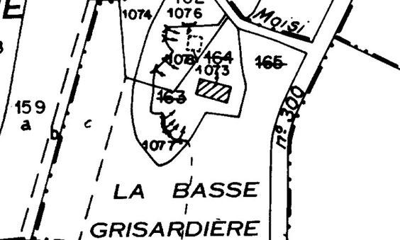 Sur le cadastre actuel, les caves sont toujours indiquées (flèches), mais il n'y a plus qu'un seul bâtiment.