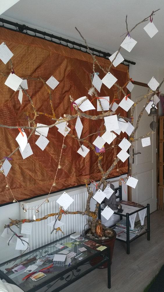 Arbre à pensées positives (petits messages laissés par les visiteurs)