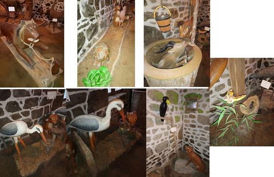 """Quelques fables illustrées : """"Le lion et le rat"""", """"Le lièvre et la tortue"""", """"Le renard et le bouc"""", """"La cigogne et lerenard (2 tableaux), """"Le corbeau et le renard"""",  (La Fontaine), """"Le criquet et le papillon"""" (Florian)"""