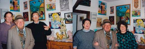 Déjeuner chez Jeanine Rivais et Michel Smolec : Robert Vassalo entre Michel Smolec et Claude Place ; puis Robert Vassalo entre Elisabeth Orosco et Jeanine Rivais (2000)