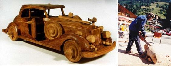La voiture de Louis de Verdal et Jean Rosset à l'ouvrage