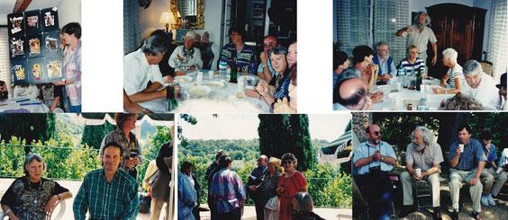 Tant dehors sous le sorbier ; que dans la maison, l'ambiance des assemblées générales (ici 1997) a toujours été gaie, culturelle, et de la plus grande convivialité.