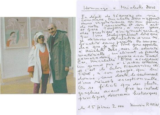Hommage de Maurice Rapin à Mirabelle Dors