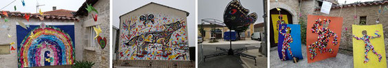 gauche et droite : collégiens // Fresque de  Hugues Picherit // Papillons de Madneom